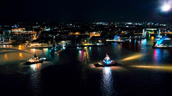 Open Bridges from the night sky SMS Towage Superman, Svitzer Bristol, HMS Pickle photograph credit Octovision Media
