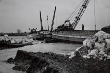 Attempting to seal the breach - River Hull at Hempholme February 1960