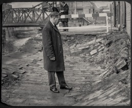 Inspecting subsidence to the river wall near North Bridge 7th February 1967