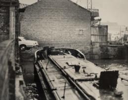 Barge and Jaguar Queen St. car park river front 23rd March 1977