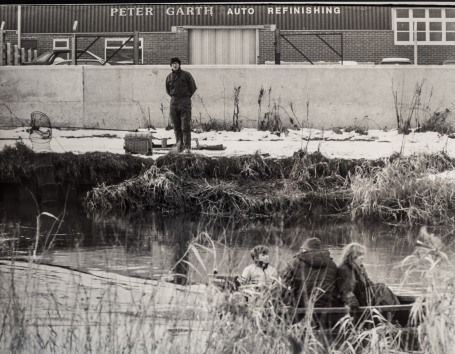 Albert Stephenson fishing on the River Hull at Beverley Shipyard 23rd January 1985