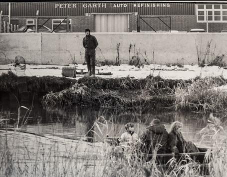 Albert Stephenson fishing on the River Hull at Beverley Shipyard 23rd January 1985