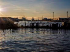 Albert Dock lock gates close