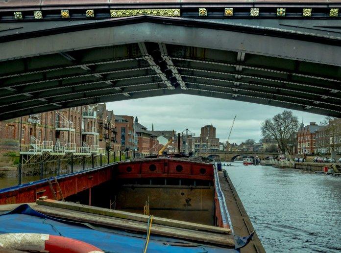 George Dyson arriving in York under Skeldergate Bridge